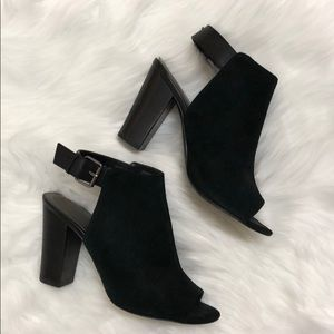 Size 8 black suede open toed booties